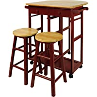 Casual Home Drop Leaf Breakfast Cart with 2 Stools (Red)