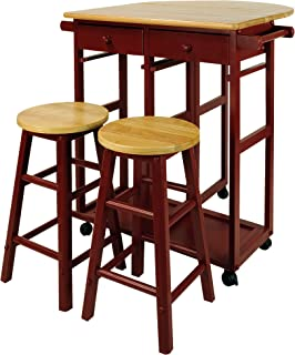 drop leaf breakfast bar with two stools