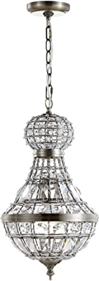 Amazon Com Jonathan Y Jyl6109a Regina 12 Crystal Metal Empire Led Chandelier Glam Contemporary Transitional Dimmable Adjustable For Foyer Closet Dining Room Kitchen Antique Brass Clear Home Improvement