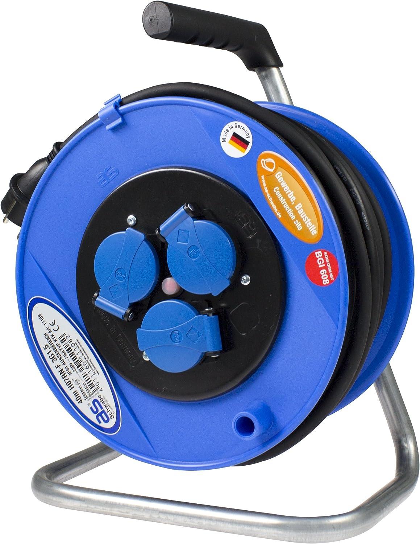 As - Schwabe 11108 Aktions-Sicherheits-Kabeltrommel, blau 285mmØ 40m H07RN-F 3G1,5 schwarz, IP44 Gewerbe, Baustelle B00475BI5K   Genial Und Praktisch