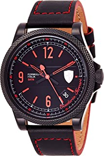 Ferrari Men'S Black Dial Leather Band Watch - 830271,