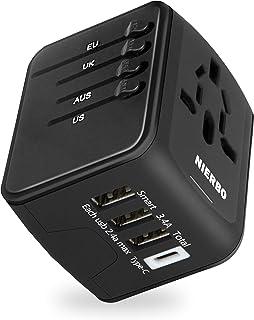 NIERBO Adaptador de Viaje Internacional, Todo en uno Cargador Universal de Adaptador Enchufe, 3 Puertos USB y 1 Tipo C, Pa...