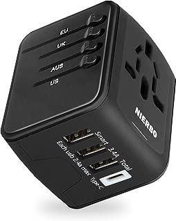 NIERBO Adaptador de Viaje Internacional, Todo en uno Cargador Universal de Adaptador Enchufe, 3 Puertos USB y 1 Tipo C, para el Reino Unido Estados Unidos Australia Europa y Asia(+160 países)