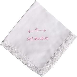 Personaliza con nombre y fecha tu Pañuelo bautizo bordado color blanco 35x35 cm
