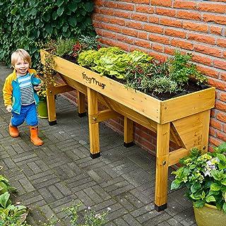 VegTrug Wall Hugger Medium (1.8m) Raised Wooden Outdoor Garden Planter (Natural Colour)