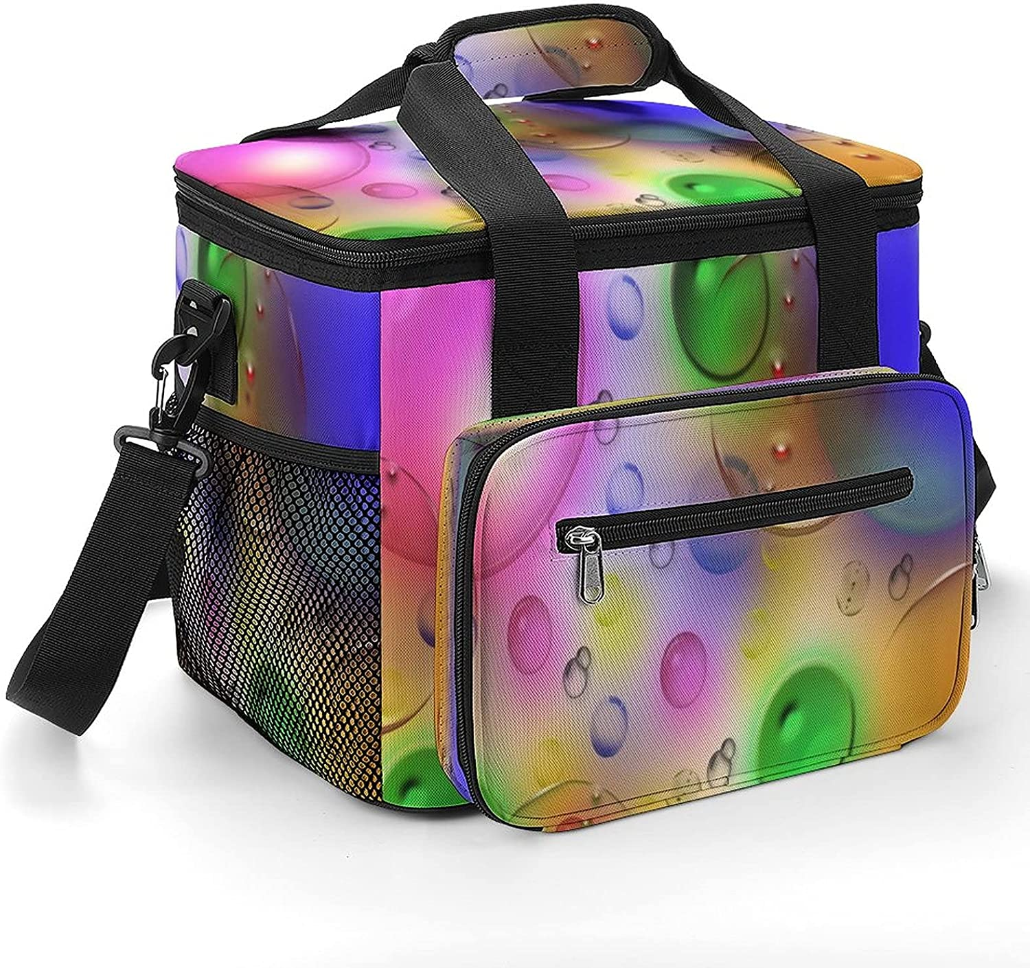 Color shopping Time sale Bubble Art Cooler Bag Shoulder with Insulated Strap Leakpr
