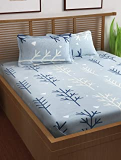 Story at Home Prism Bedsheet Set of 3 (Bedsheet with 2 Pillow Covers), PS1408, Cotton, Flat/Double, Sky Blue, 225cm x 235cm