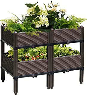 Reliancer Set of 4 Raised Garden Beds w/Brackets Elevated Garden Bed Kit Patio Flower Plant Planter Box Vegetables Planting Container Fence Indoor Outdoor for Porches Decks Balconies Yard Gardening