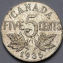 1935 CANADA 5 CENTS NICKEL ***STRUCK THRU ERROR COIN***