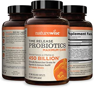 NatureWise Max Probiotics for Men & Women | Time-Release Caplets Comparable to 450 Billion CFU with 30 Strains, WiseBiotic...
