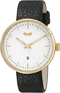 Vestal Unisex ROS3L001 Roosevelt Stainless Steel Watch with Black Leather Strap