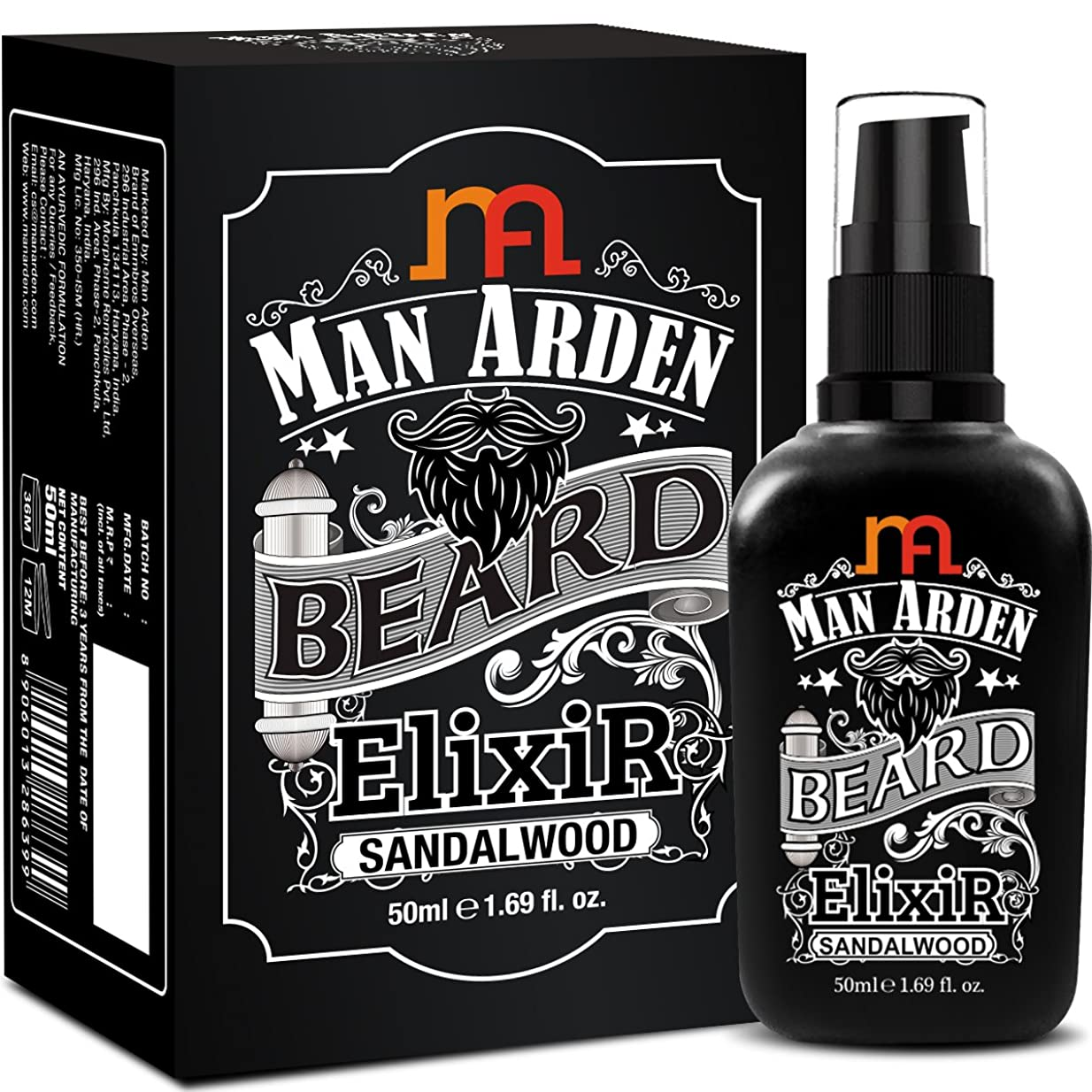 スクラップブックナラーバー草Man Arden Beard Elixir Oil 50ml (Sandalwood) - 7 Oils Blend For Beard Repair, Growth & Nourishment8906013286399