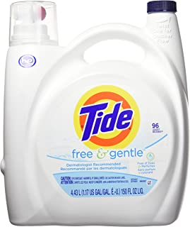 Tide Free and Gentle HE Liquid Laundry Detergent, Unscented, 4.43 L (96 Loads)