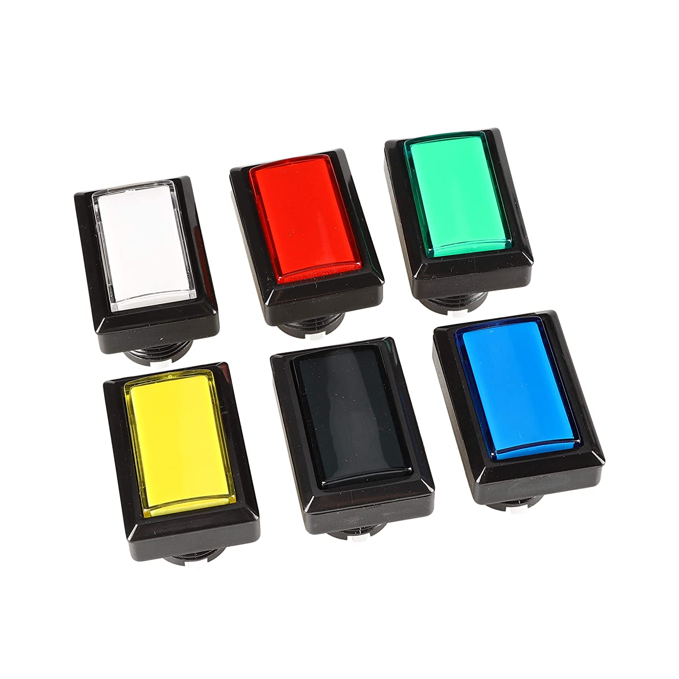EG STARTS 6X Arcade Rectangle LED Push Buttons Switch for Arcade Machine Games Mame Jamma Parts 12V