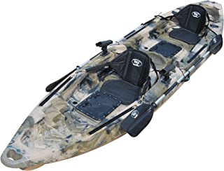 BKC TK122 12.9' Tandem Fishing Kayak W/Soft Padded Seats, Paddles, 4 Rod Holders Included 2-3 Person Angler Kayak