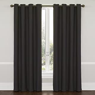 """Eclipse Thermal Insulated Single Panel Grommet Top Darkening Curtains for Living Room, Charcoal, 52"""" x 63"""""""