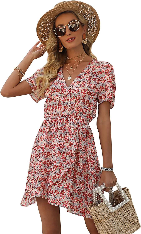 Relipop Women's Floral Print Summer Dresses V Neck Short Sleeve Elastic Wiast Wrap Ruffle Hem Short Casual Dress