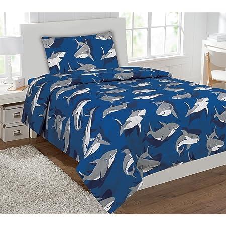 Linen Plus Sheet Set for Boys/ Teens Shark Light Blue Grey Flat Sheet Fitted Sheet and Pillow Case Twin Size New