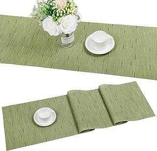 SHACOS Chemin de Table Tissé en Vinyle Chemin de Table Bambou Isolation Thermique Antitache Antidérapant Lavable Napperons...