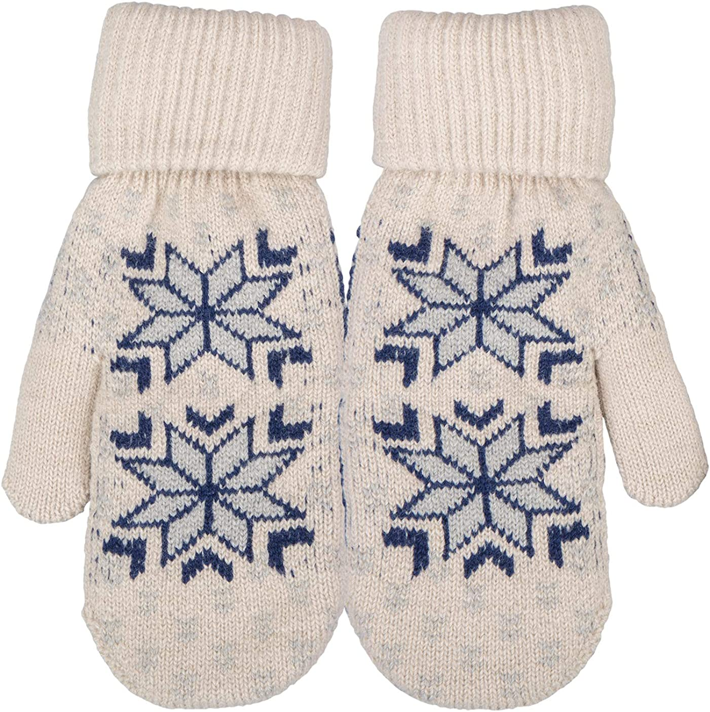Broner Ladies Double Layer Knit Mittens with Nordic Design