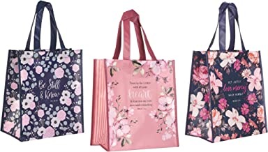 3 Religious Themed Inspirational Christian Tote Bags for Women | Psalm Verse, Proverbs Verse, Micah Verse Theme | Reusable...