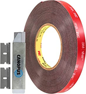 Heavy Duty CANOPUS 06382 Automotive Acrylic Plus Attachment Tape 0.5in x 20yd Double Sided Tape Black Made in USA