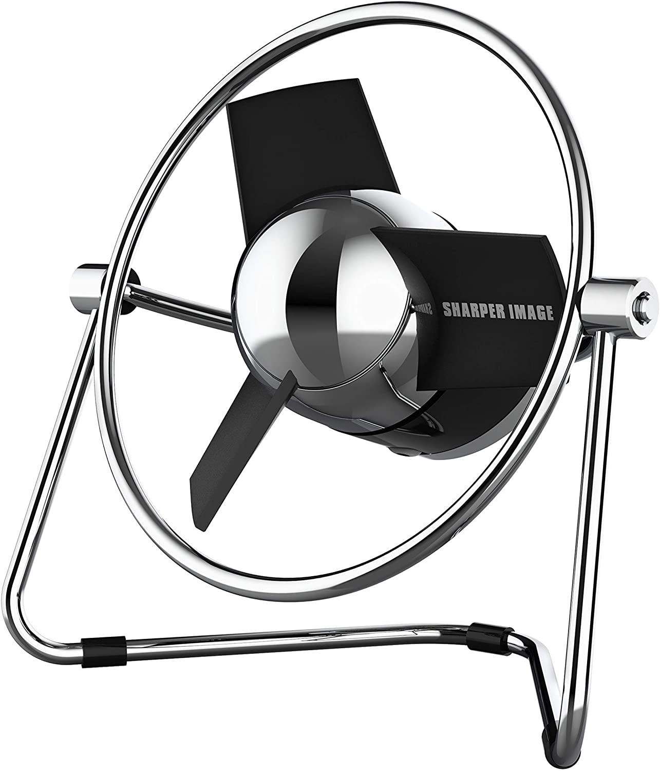 Sharper Image SBM1-SI USB Fan with Soft Blades, 2 Speeds, Touch Control, Quiet Operation, Metal Frame, 5V Wall Adapter, 6 ft. Cable, Personal, Black/Chrome