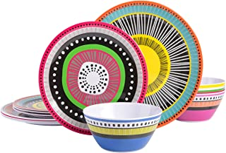 Gibson Home Almira 12 Piece Melamine Dinnerware (Set of 4), Assorted