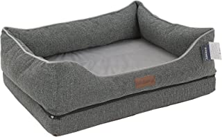 PLS Birdsong Fusion Orthopedic Dog Bed with Plush Bolster Sides, Firm Foam Dog Bed, Dog Beds for Large Dogs with Removable Cover