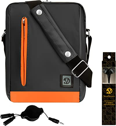 Vangoddy Orange Trim Anti-Robo Vertical Crossbody Bolsa de Hombro Mensajero para Amazon Kindle, Paperwhite, Voyag, Oasis, E-Readers + In-Ear Buds and Splitter