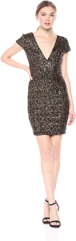 Dress the Population Women's Zoe Cap Sleeve Plunging Sequin Mini Dress, Antique/Gold, XS