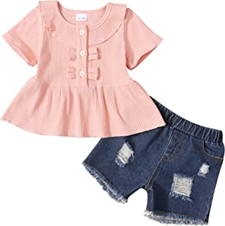 Toddler Girl Outfit Summer Baby Girl Clothes Ruffle Shirt Jeans Short Girl Outfit