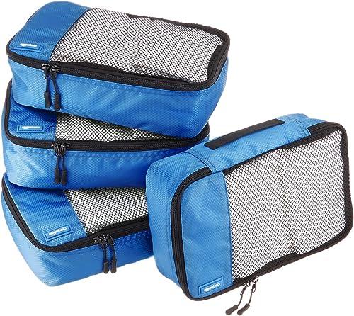 Amazon Basics Lot de 4sacoches de rangement pour bagage TailleS, Bleu