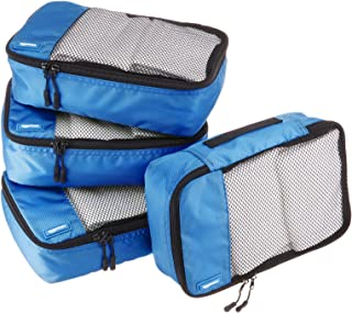 AmazonBasics Packing Cubes/Travel Pouch/Travel Organizer - Small, Blue (4-Piece Set)