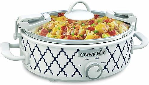 2021 Crockpot 2.5-Quart Mini Casserole Crock Slow online Cooker, new arrival White/Blue online
