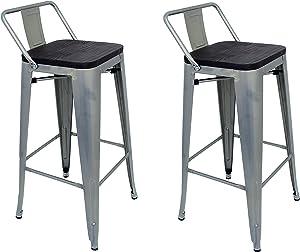 La Silla Española - Pack 2 Taburetes estilo Tolix con respaldo y asiento acabado en madera. Color Gris Industrial. Medidas 95x43x43