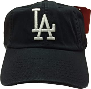 MLB Ballpark Slouch Contrast Logo Cotton Twill Adjustable Cap (Black, Los Angeles Dodgers, One Size Fits Most)