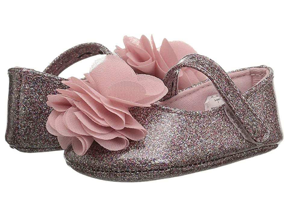 Baby Deer Glitter Skimmer with Chiffon Flower Waddle (Infant) (Multi) Girls Shoes