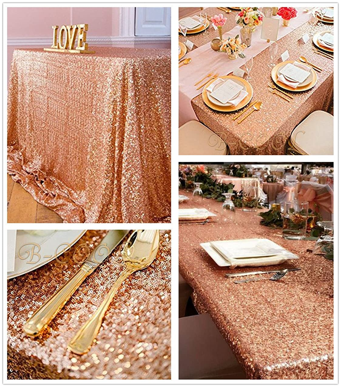 B-COOL Sparkly Rose Gold Sparkly Sequin Glamorous Tablecloth/Backdrop Wedding Party Decorations