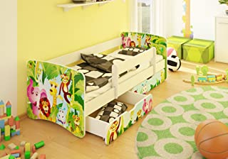 Best For Kids Children s Bed Youth bed 80x180 with roll-out protection and two drawers Design  Animals