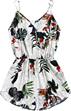 SheIn Women's V Neck Tropical Print Elastic Waist Tulip Hem Cami Romper