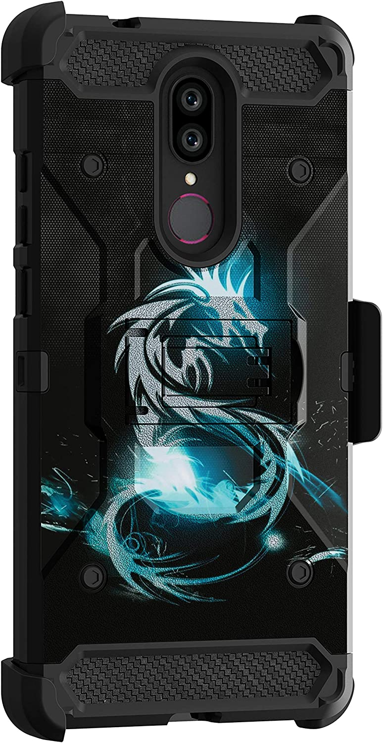 MINITURTLE Compatible with Coolpad Legacy, Coolpad Alchemy Triple Layer Belt Clip Holster Armor Kickstand Case [Max Guard] - Blue Dragon