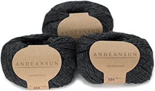 100% Baby Alpaca Yarn (Weight #3) DK - Set of 3 - AndeanSun - Luxuriously Soft for Knitting, Crocheting - Great for Baby Garments, Scarves, Hats, and Craft Projects -(Dark Grey)