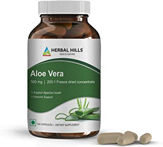 Herbal Hills Aloe Vera Capsules (Aloe barbadensis)- 500 mg,120 Capsules, Pure Aloe Freeze Dried Powder Supplement, high Co...