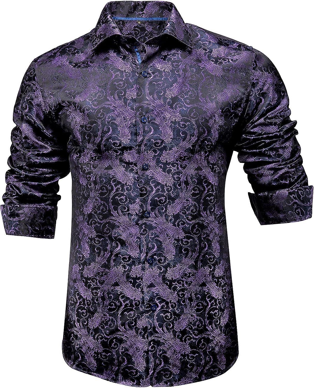 Hi-Tie Men's Woven Silk Dress Shirt Button Down Casual Jacquard Shirts Long-Sleeve Shirt Prom Wedding Regular Fit
