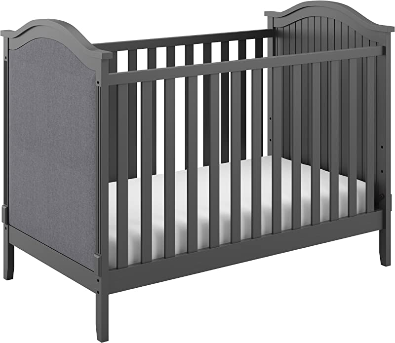 Storkcraft Rosehill Upholstered 3 In 1 Convertible Crib Gray Gray Easily Converts To Toddler Bed Or Day Bed Three Position Adjustable Height Mattress Mattress Not Included