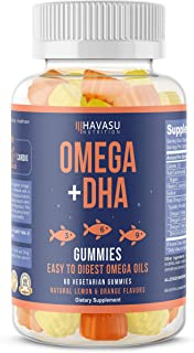 Havasu Nutrition Omega + DHA Gummies to Support Brain, Joint & Cardiovascular Health - Aids Vision and Immune Health, Non-GMO, Gelatin-Free, Plant Based Oils, Natural Flavors, 60 Vegetable Gummies