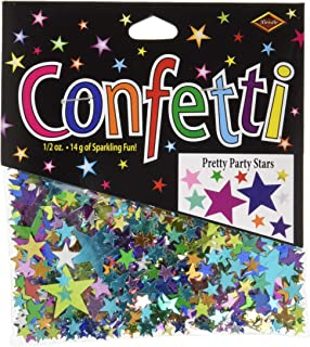 Beistle Stars Assorted Sizes Cutout Plastic Confetti, 1 Pack, Multicolored