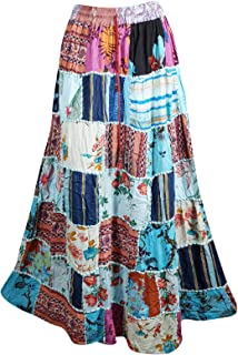 Mogul Interior Women's Blue Bohemian Patchwork Skirt A-Line Gypsy Boho Hippie Summer Skirts S/M