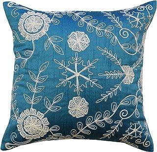 Divine Designs Dori Embroidery Toss Pillow, Blue